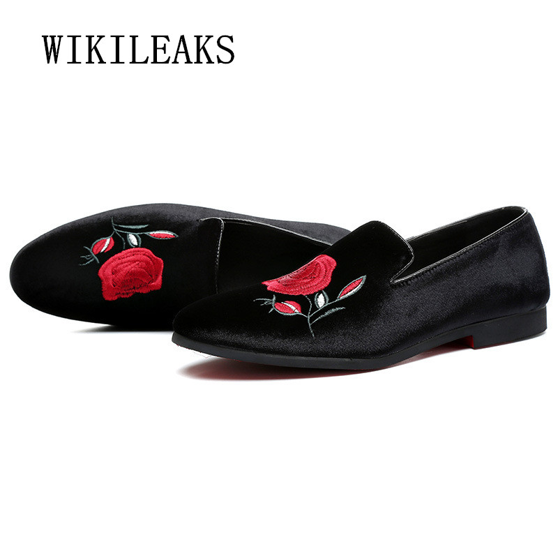 brand men shoes 2018 oxford shoes for men loafers luxury embroidery flower mens shoes bu ...