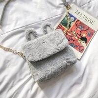 אוזני ארנב חמודה בנות תיק כתף שקיות קניות אפור/שחור מוצק Feminina Bolsa תיק ארנב למעלה איכות מתנות נשים