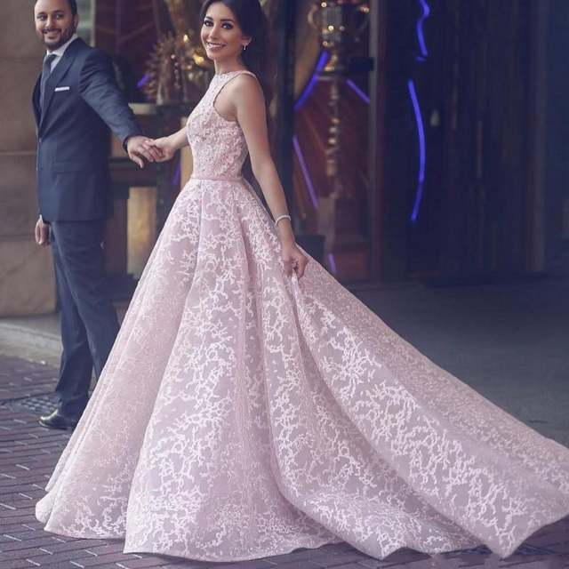 Saudi Arabic Blush Pink Lace Formal Party Dresses 2018 With Overskirt  Elegant A-line Long 1f09ad9c5a00
