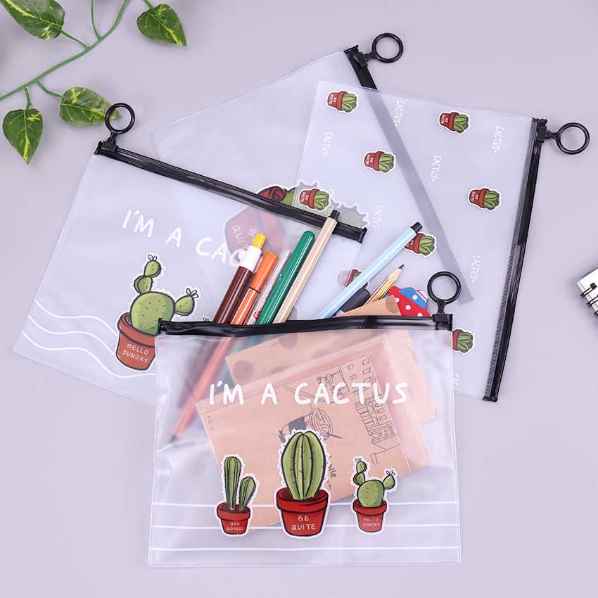 Kaktus wodoodporny pvc piórniki przezroczyste biurowe A5 folder do przechowywania biuro szkolne piórniki dla dziewczynek