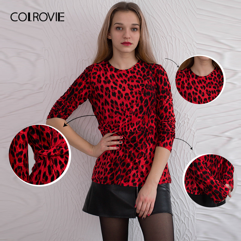 COLROVIE Leopard Print Twist Slim Sexy T Shirt Womens Clothing 2019 Spring  Fashion Korean Office Lady Long Sleeve Tops Tee Shirt-in T-Shirts from  Women s ... 6ca78f0f8