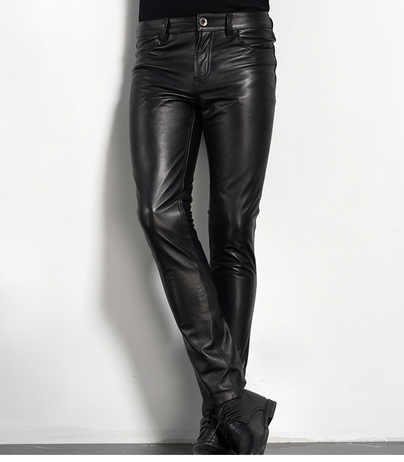 Men's Leather Pant Biker Pants Motorcycle Punk Rock Pants Tight Gothic Leather Pants  Slick Smooth Shiny Trousers Sexiest TJ01 22