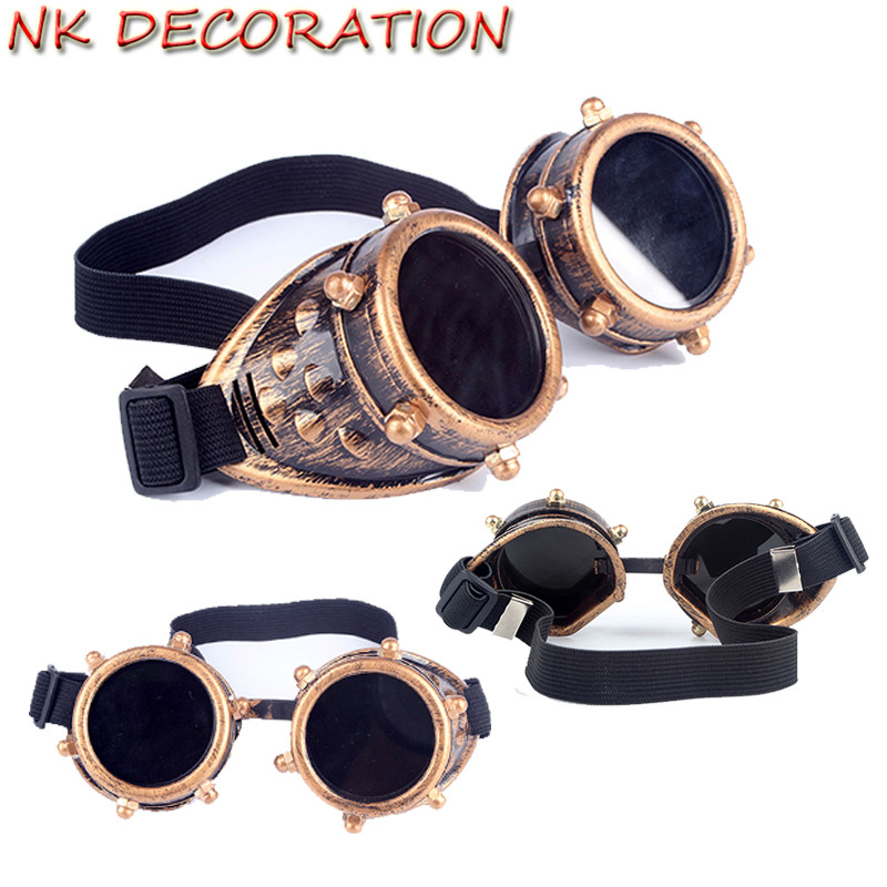 nk decoration vintage goggles steampunk glasses punk gothic bronze victorian rivets sunglasses for halloween carnival party