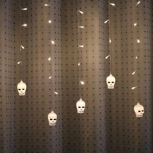 Image 5 - LYFS 3.5M 96 LED Halloween Curtain Light Strings Skull Style Holiday Lighting Bedroom Living Room Halloween Atmosphere Decor