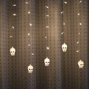Image 5 - Lyfs 3.5M 96 Led Halloween Gordijn Licht Snaren Schedel Stijl Vakantie Verlichting Slaapkamer Woonkamer Halloween Sfeer Decor