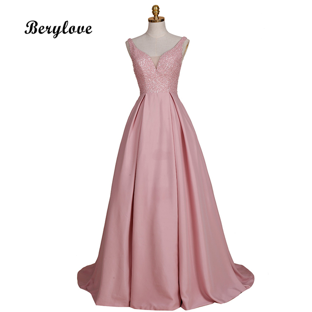 BeryLove Elegant Ball Gown Blush Pink Evening Dresses 2018 Beaded Satin Evening  Dress Fashion Prom Dresses fedaefc39934