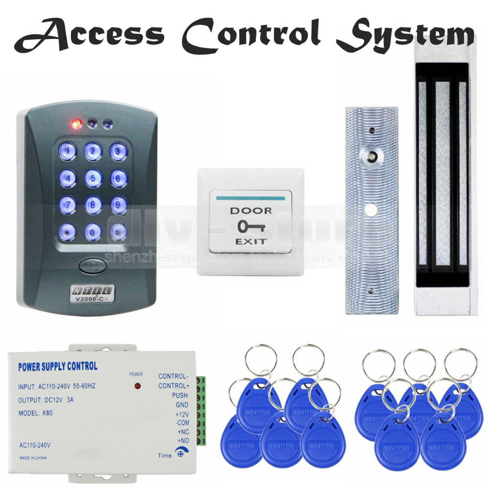 DIYSECUR Magnetic Lock 125KHz RFID ID Card Reader Password Keypad Access Control System Security Kit Door Bell Button V2000-C diysecur 280kg magnetic lock 125khz rfid password keypad access control system security kit exit button k2