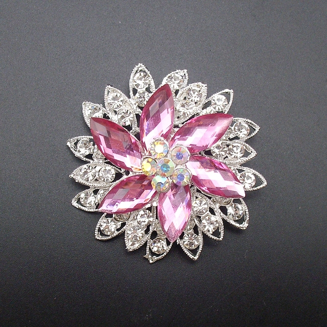 6PCS/PACK New Fashion Hot Multicolor Elegant Shiny Crystal Rhinestone Flower Jewelry Wedding Brooch Pin Lots, Item No.: BH7785