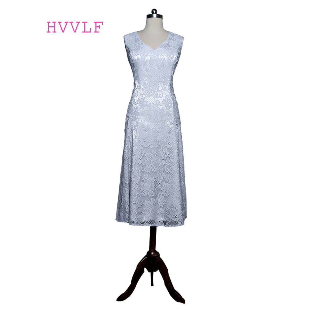 Silver 2019 Mother Of The Bride Dresses A-line V-neck Cap Sleeves Tea Length Lace Plus Size Groom Mother Dresses For Wedding