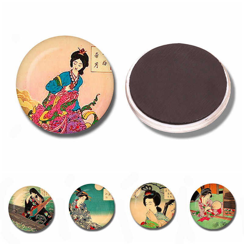 Japanese Culture Geisha Japanese Glass Cabochon Magnetic Refrigerator Stickers 30 MM Fridge Magnet Creative Kitchen Home Decor