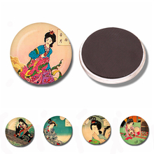 Japanese Culture Geisha Glass Cabochon Magnetic Refrigerator Stickers 30 MM Fridge Magnet Creative Kitchen Home Decor