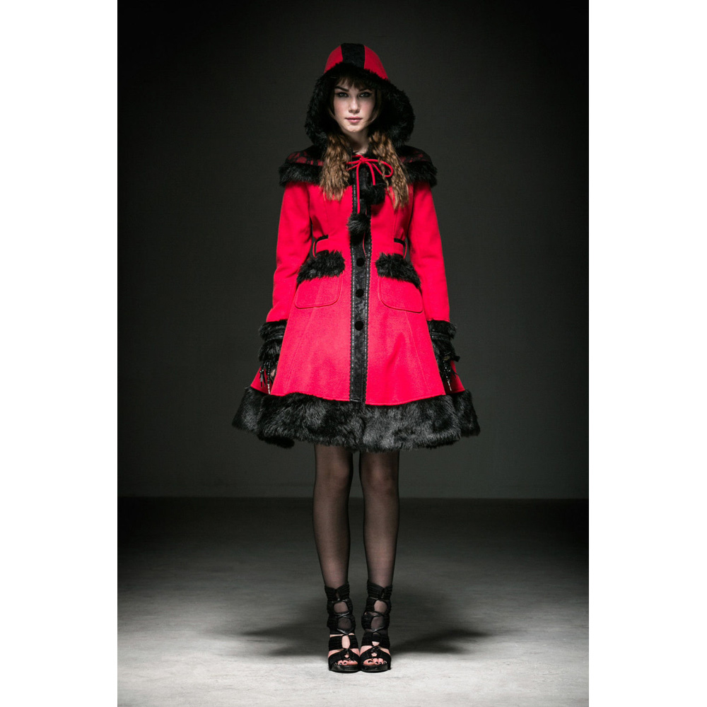 Lolita Cosplay Goth Wrap Winter Long Coat Jacket Women clothing Red Dress LY024