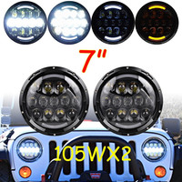 2 X 7 INCH Round 105W LED projector headlight H4 DRL Hi/LO Beam Yellow Turn signal for Jeep JK Wrangler 97 15 Driving lights