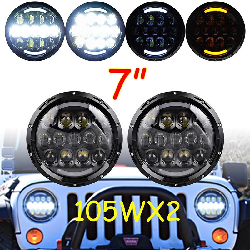 2 X 7 INCH Round 105W LED Projector Headlight H4 DRL Hi LO Beam Yellow Turn