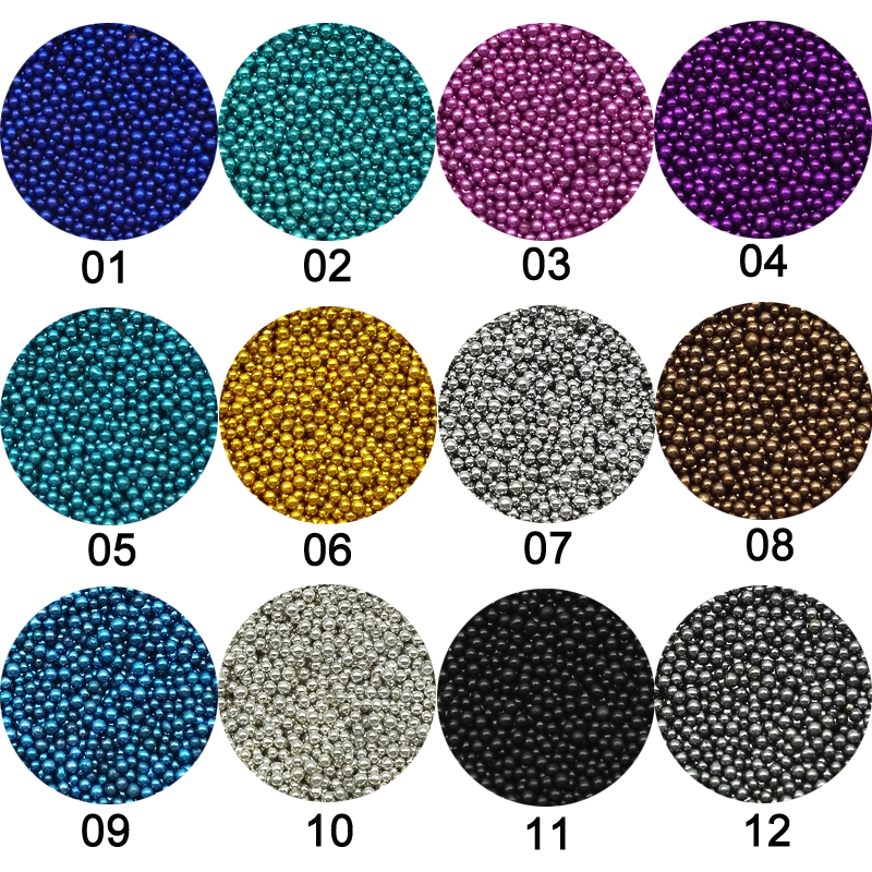 1 Box Caviar Manicure Nail Art Mini Beads Rhinestones for Nails Micro Rhinestone Crystal  3D Nail Art Decorations 12Color Choose 1440pcs 1 1mm crystal clear glass nail art rhinestones micro rhinestones mini nail art micro pixie manicure decorations