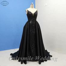 Onlysmile Длинная черная Русалка блеск Abendkleider Саудовская Арабский женские вечерние платья со съемной юбкой hochzeitsklei
