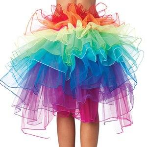 Image 4 - 1 adet kadın tavuskuşu dans eteği gökkuşağı kuyruk telaş etek renkli kadın etekler yaz kabarık gökkuşağı Tutu etek