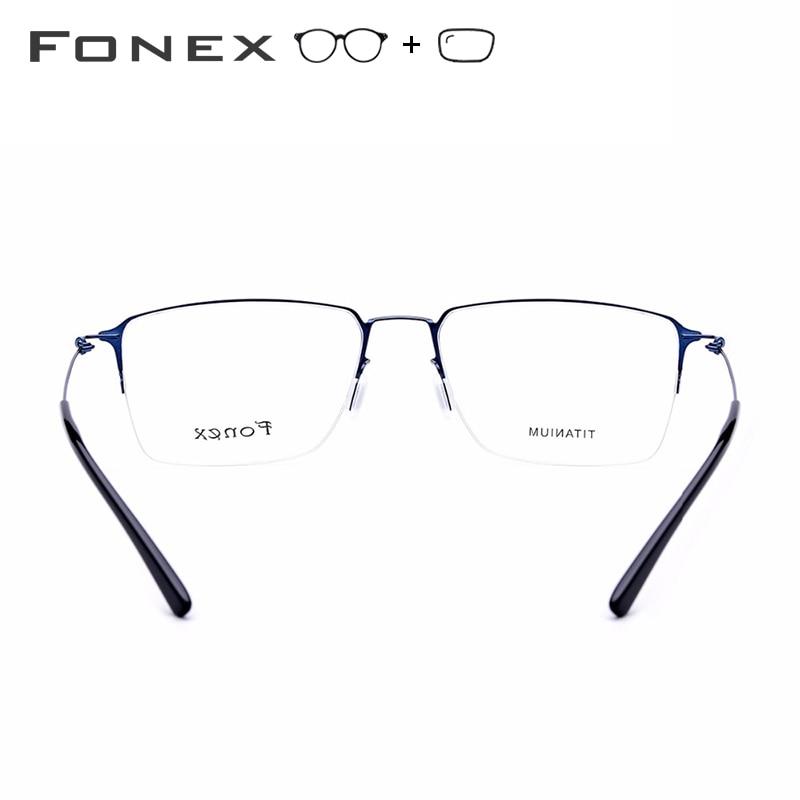Alliage de titane lunettes de Prescription hommes Semi sans monture myopie cadre optique femmes coréen sans vis lunettes Prescription lunettes - 5