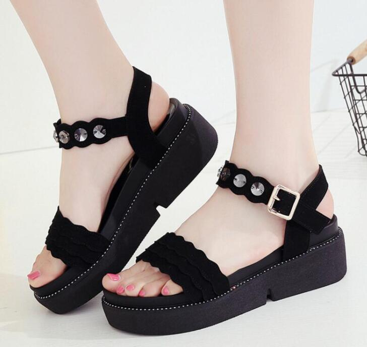 Large plus size 34-43 fashion summer sandals shoes woman TH040 buckle straps green red black middle wedges heel lady sandals new women sandals low heel wedges summer casual single shoes woman sandal fashion soft sandals free shipping