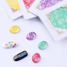 Glitter Line Net 3D Nail Sticker 1 Sheet 6.5*5cm Purple Green Red Yellow 3D Nail Art Decoration for Decal Nail Decorations