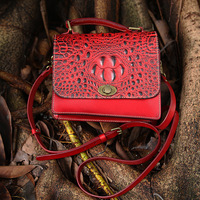 Hand Made 2017 Vintage Women Lady Genuine Leather Handbags Alligate Handbag First Layer Cowhide Original Red