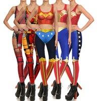 Novo Colete das Mulheres e Leggings Super-heróis Mulher Maravilha Deadpool Cosplay Trajes Topos Das Culturas de Verão Sexy Slim Calças de Impressão Bodysuit