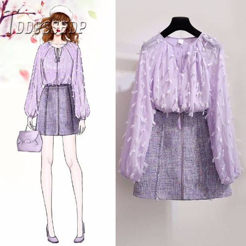 2019 Spring New Sweet Women Set Purple Color Blouse And Skirt Female Sets