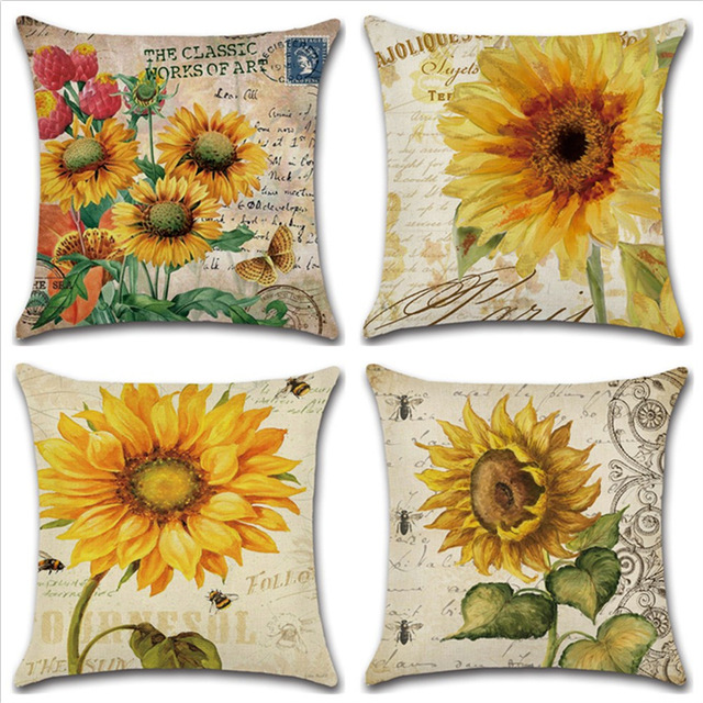 New Hand Painted Sunflower Flowers Linen Cushion Cover 40X40cm Cool Hand Painted Decorative Pillows