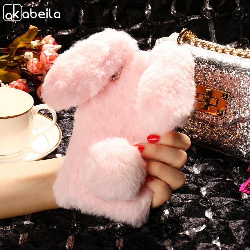 AKABEILA Case Soft Silicone For LG X Power Cases Rabbit Fur Fluffy For LG X Power Silicone F750 K210 K450 K220 K220DS k220y k220