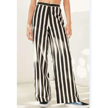 купить US Wide Leg Pants Women Drawstring Elastic Waist Striped Pants High Waist Trousers Black White Pants 2018 Casual Loose Pant дешево