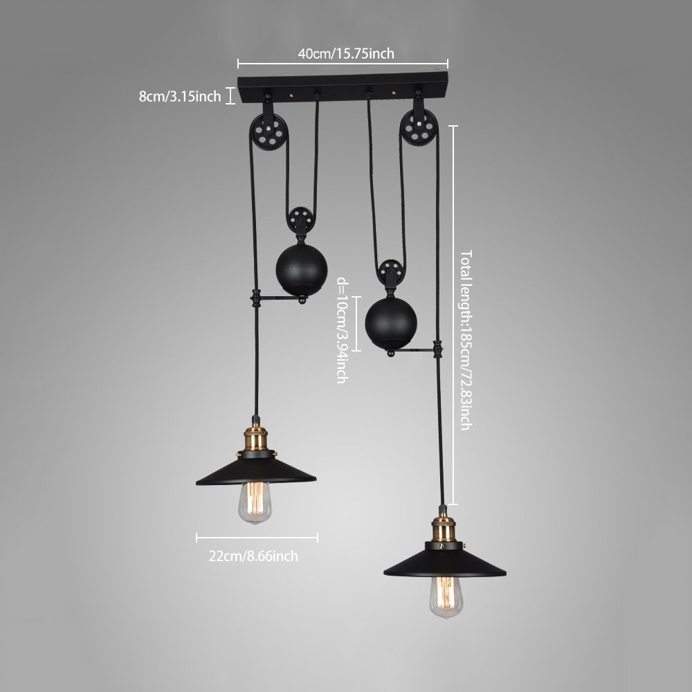 American Country loft Pulley Droplight Antique Retro Iron Pendant ...