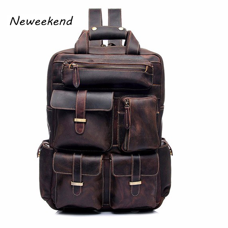 Men's Backpack Genuine Leather Large Capacity Travel Utility Men Leather Bag Men Backpack Vintage YD-8027