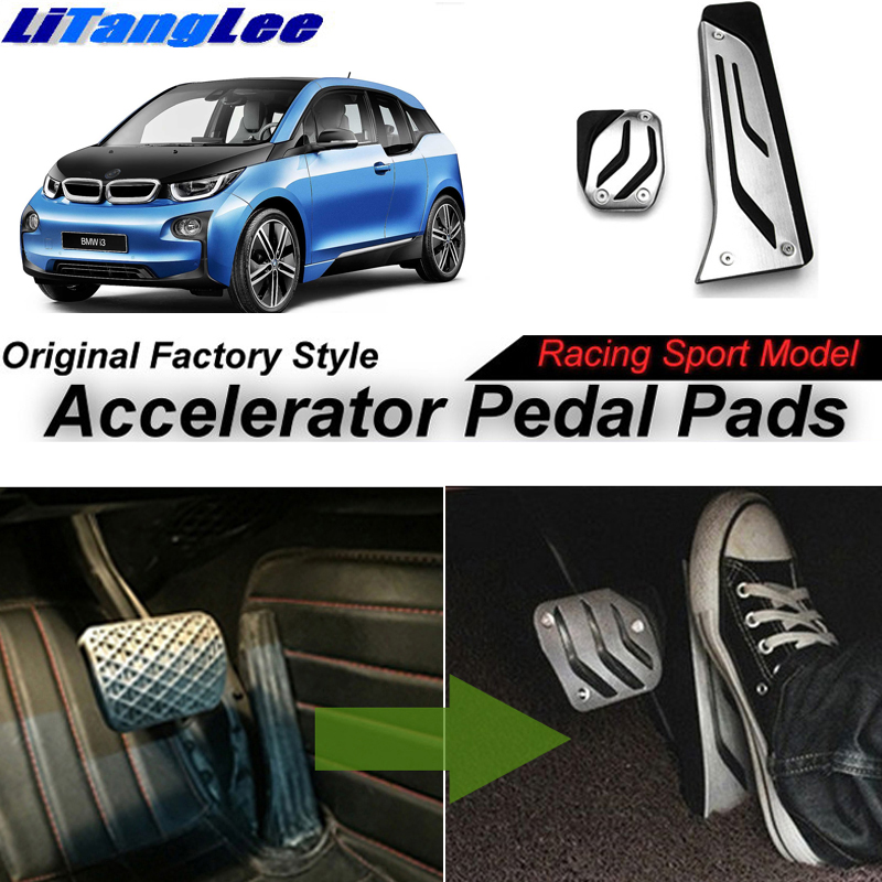 LitangLee Car Accelerator Pedal Pad Cover Sport Racing Design For BMW i3 2013~2018 Foot Throttle Pedal Pad Cover litanglee car accelerator pedal pad cover racing sport for mini cooper clubman r55 f54 2007 onwork at foot throttle pedal cover