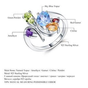 Image 5 - Gems الباليه زهرة متعدد الألوان الطبيعية جمشت العقيق الزبرجد سيترين توباز خاتم كبير 925 فضة خاتم للنساء