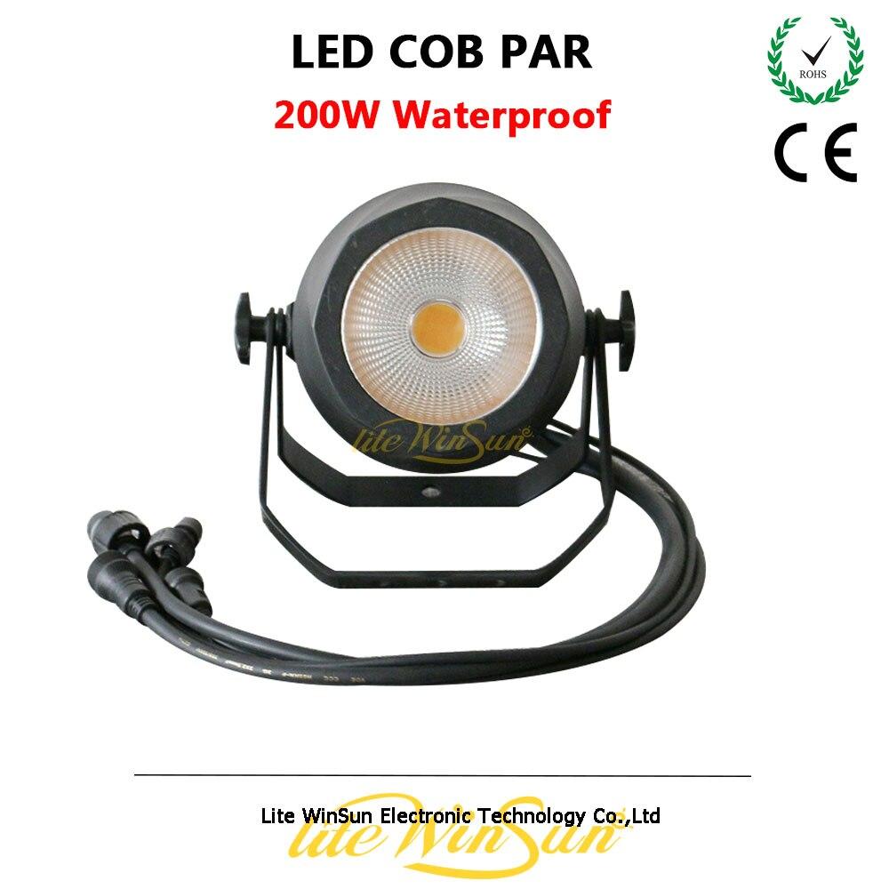 Litewinsune 2018 New Waterproof 200W LED COB Par Light Par Can Surface Profile DMX Lighting litewinsune cw ww 100w cob led par can lighting 3200k 5600k wash stage lighting 6pcs