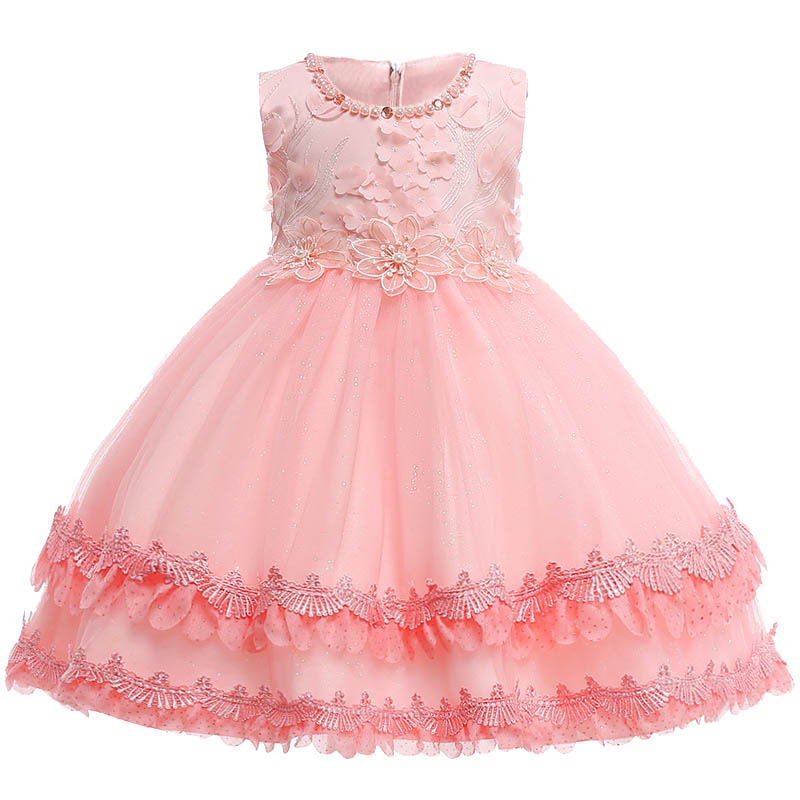 Summer new baby girl dress applique princess party flower girl dress child 3 4 5 6 7 8 9 10 year old children clothing