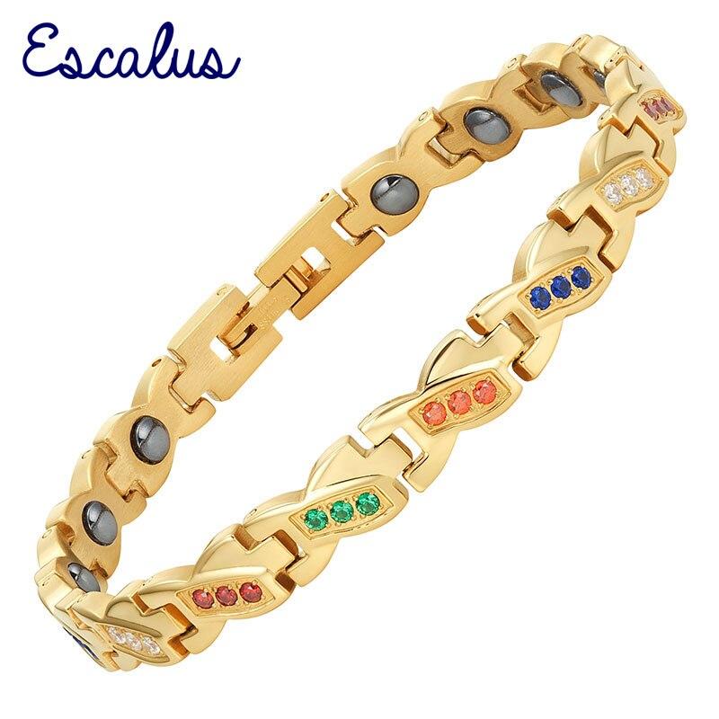Escalus дамы Нержавеющаясталь позолота 45 шт. 5-Цвета кристаллы Для женщин Камни браслет магнитный браслет Шарм