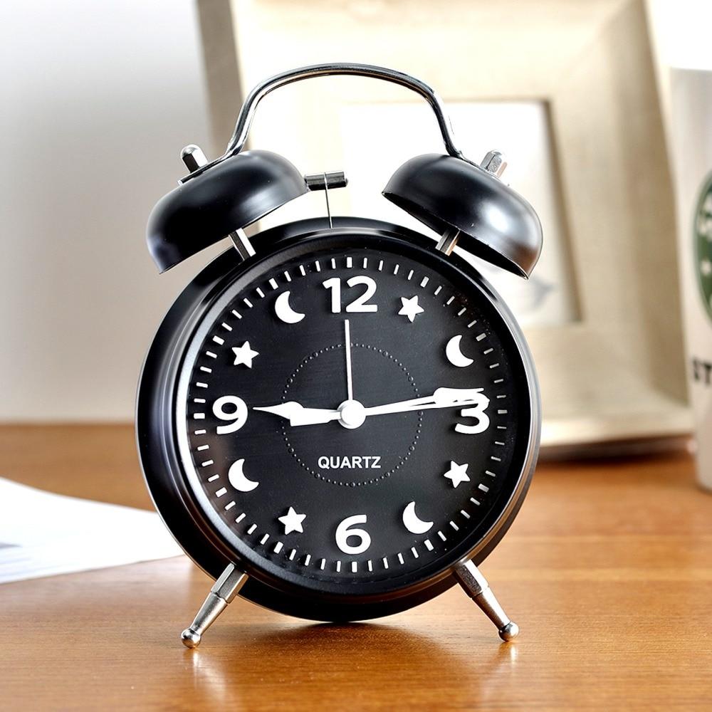 M.Sparkling desk table clock metal digital alarm clock students kids bedroom snooze function clock home decoration