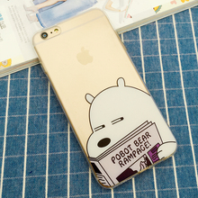 7 7P Cute Polar Bear Panda High Crystal Clear Transparent TPU Cases Cover for iPhone 5S SE 6 6S 6Plus 7 7 Plus Bags Accessories