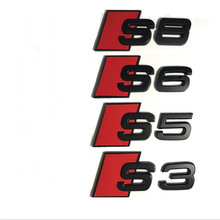 10pcs ABS Plastic Car Trunk Number Letters Badge Emblem Emblems Sticker for Audi S3 S4 S5 S6 S7 S8 SQ3 SQ5 SQ7 Big Size Stickers(China)