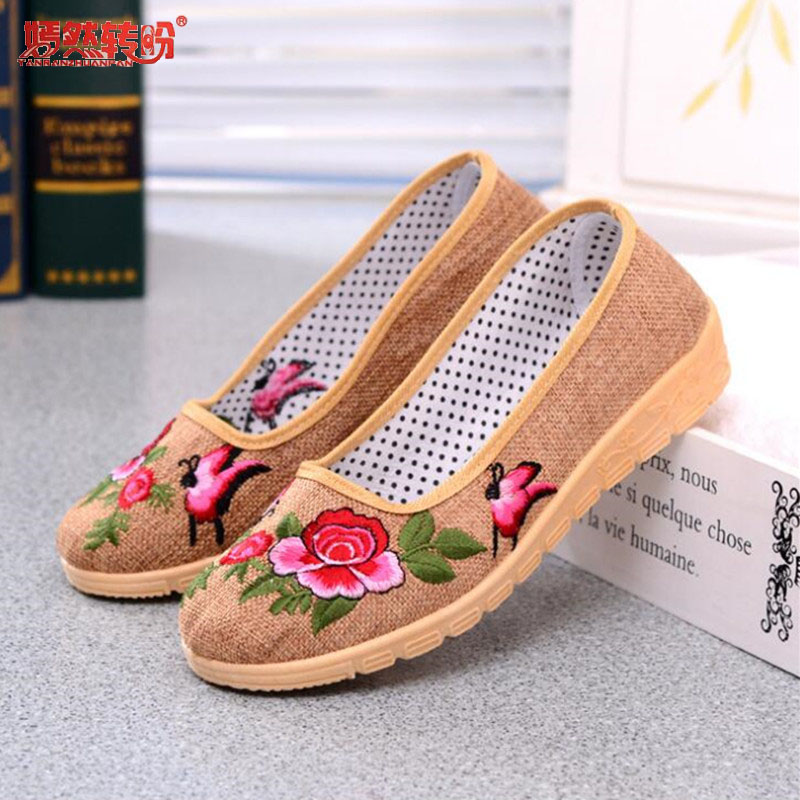 Embroider Women Flower Flats Slip On Cotton Fabric Casual Shoes Comfortable Round Toe Flat Shoes Plus Size Soft Sole Mother Shoe new arrival spring floral flat shoes women casual flats cotton fabric shoes woman round toe slip on ladies big size shoes eu42