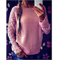 New Women Hollow Out Lace Long Sleeve Casual Sweater Patchwork Lace Pullover Knitted Sweaters