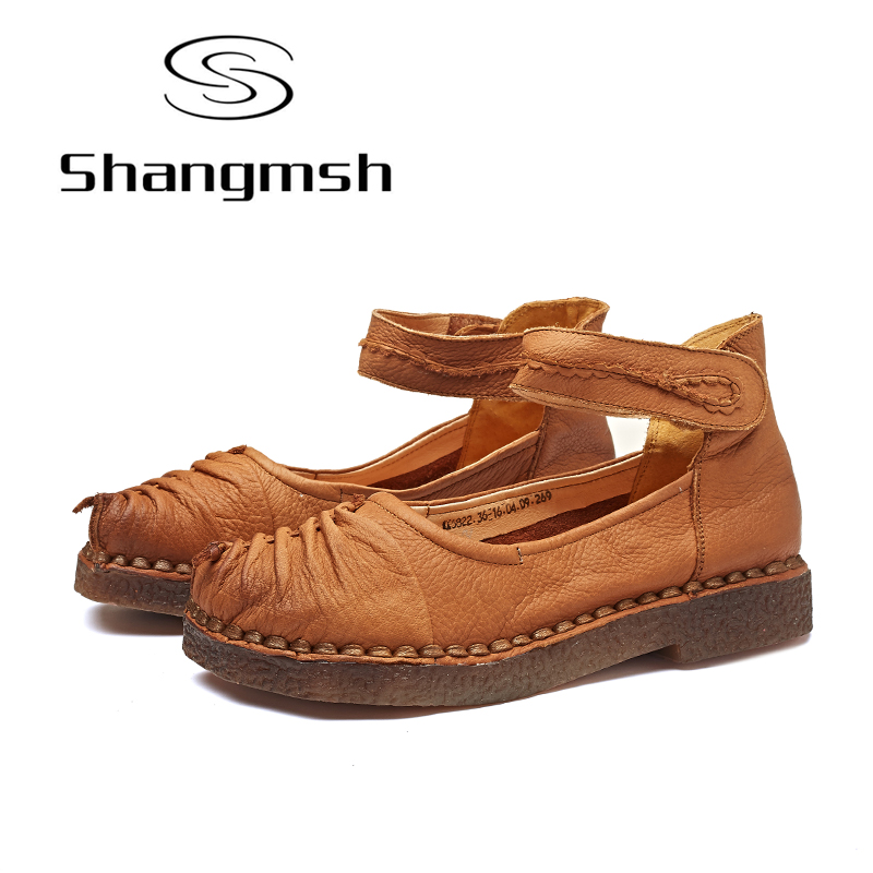 Shangmsh Handmade Flat Shoes Momen Vintage Full Geunine Leather Flat Comfortable Shoes Ladies Shallow Solid Loafers