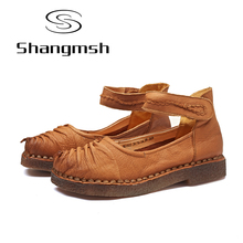 Shangmsh Handmade Flat Shoes Momen Vintage Full Geunine Leather Flat Comfortable Shoes Ladies Shallow Solid Loafers Female shoe