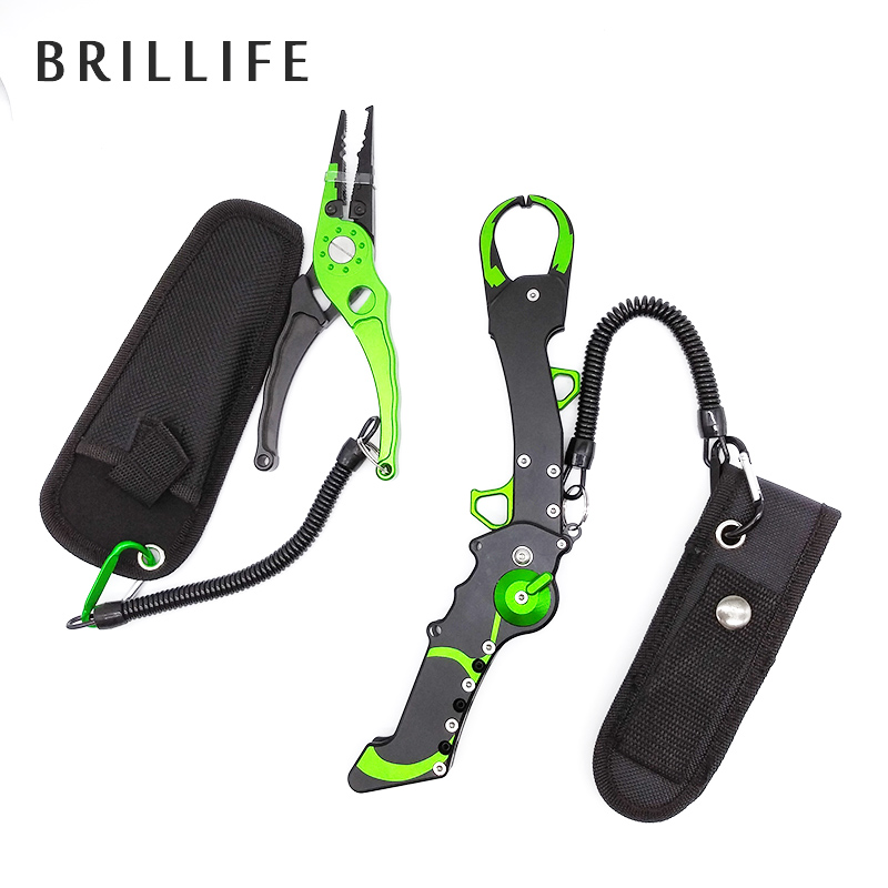 BRILLIFE Fish Grip Set Aluminium Fishing Pliers and Grabber Controller Hook Remover Fishing Tackle Tool