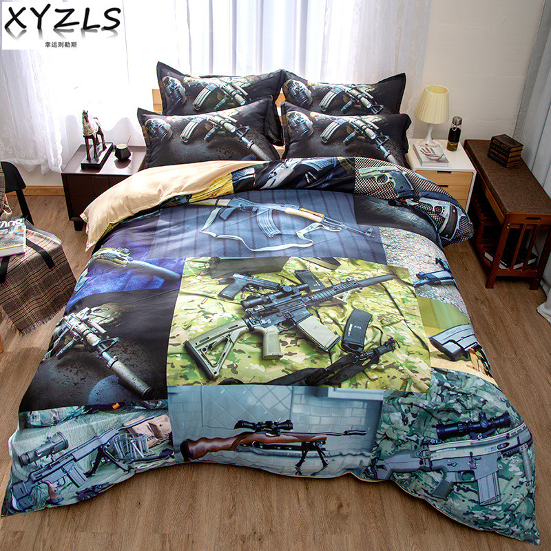 XYZLS Sniper Rifle Queen Cotton Bedding Set Single King Full Twin Military Series Bedding Kit Men