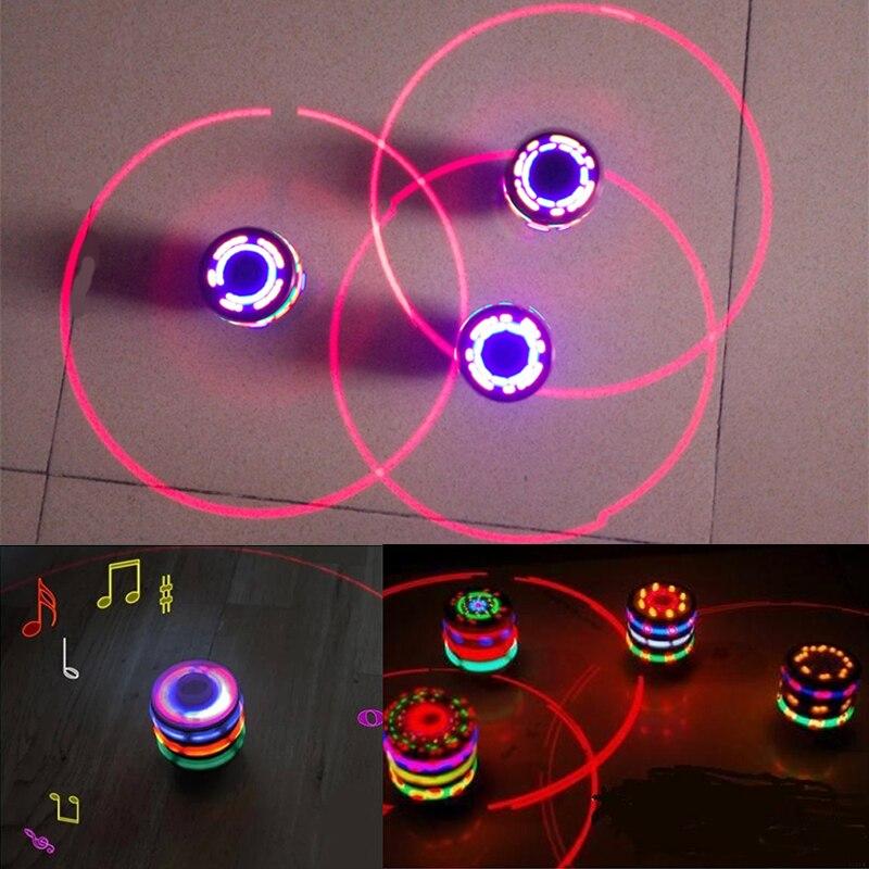 Spinning Top Luminous colorful lights led lamp flash Music Classic Toys LED Peg Top Gyro kids toys YOYO Rotate toys brinquedos(China)