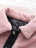 Trim Faux Shearling Jacket Fashion Single Button Jacket Casual Lapel Long Sleeve Coat Casual Patchwork Jacket