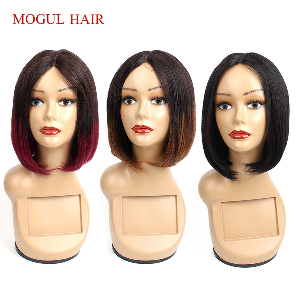 Mogul Hair Straight Human Hair Wigs Middle Part Machine Made Wig I Type Lace Wig Short