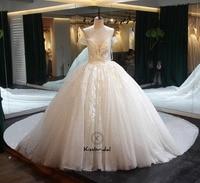 Vestido de noiva Long Wedding Dress 2018 Sweetheart Neck robe de mariee Gelinlik Ball Gown Lace Bride Dresses Chapel Train